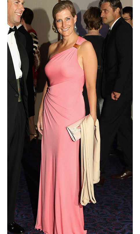 The perennially stylish <a href=/tags/0/countess-of-wessex><strong>Countess of Wessex</strong></a> turned heads in a one-shouldered salmon-pink gown at the 2012 Paralympic Ball at Grosvenor House Hotel in London. 