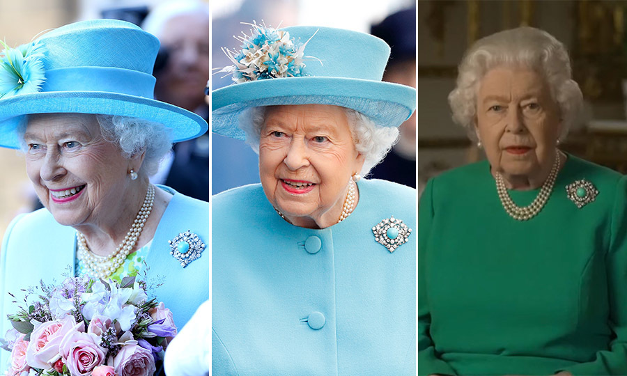 Despite receiving the turquoise brooch in 1953, Her Majesty didn't debut the piece until 2014. She first wore it publicly on a royal engagement to Chatsworth House in Derbyshire, England that July (left).