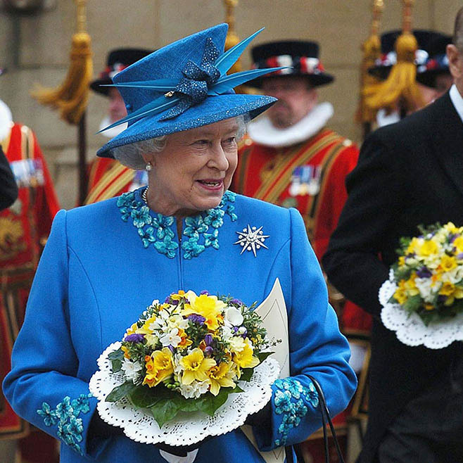 Her Majesty was breathtaking in a decorative blue ensemble at the traditional Maundy service at Wakefield Cathedral in Yorkshire in 2005. 