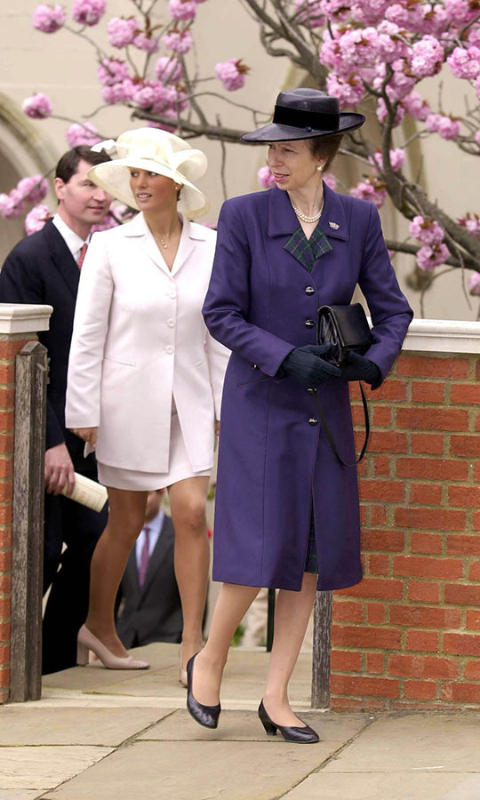 Princess Anne and a young Zara Tindall (then-Phillips) stepped out in elegant ensembles to Easter service in Windsor in 2000. 
