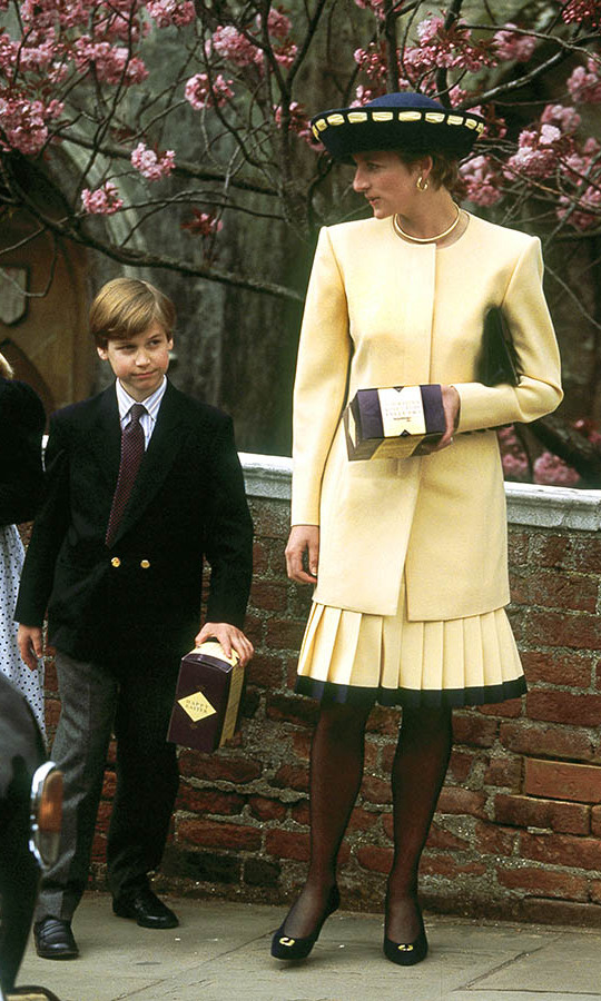 <a href=/tags/0/princess-diana><strong>Princess Diana</strong></a>, accompanied by a young <a href=/tags/0/prince-william><strong>Prince William</strong></a>, was lovely in pale yellow. The pair were photographed leaving Windsor Chapel after the traditional Easter service in 1992. 