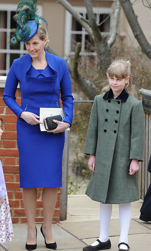 Pretty as a peacock! The <a href=/tags/0/countess-of-wessex><strong>Countess of Wessex</strong></a> and <a href=/tags/0/lady-louise><strong>Lady Louise Windsor</strong></a> were a stylish duo at Easter Matins service at St. George's Chapel in Windsor Castle in 2013.
