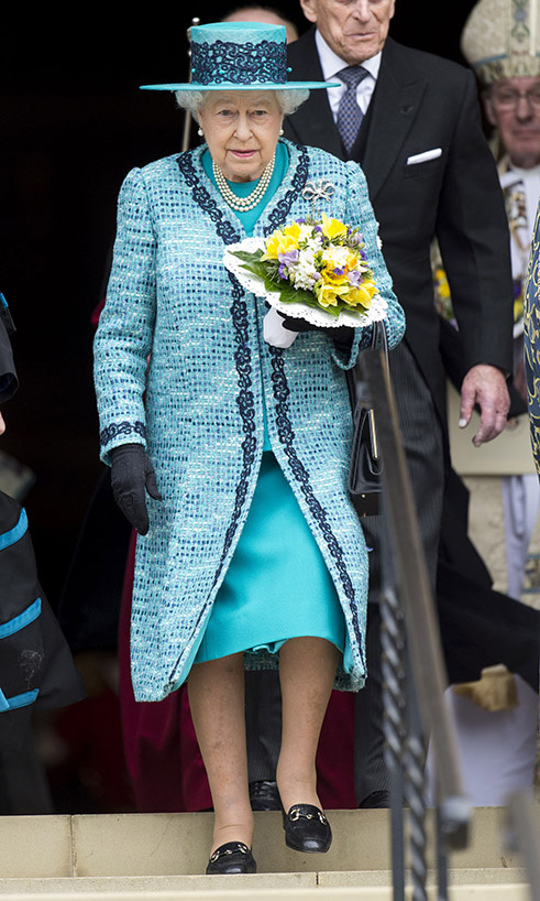 <a href=/tags/0/queen-elizabeth-ii><strong>The Queen</strong></a> made a colourful statement at the traditional Royal Maundy service at Windsor Castle in 2016 in a turquoise tweed jacket and hat, trimmed in black lace. Her black gloves and loafers made the trim pop.