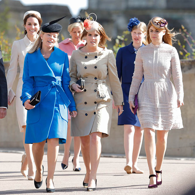 What a fashionable group! Many members of the Royal Family, including Duchess Kate, <a href=/tags/0/autumn-phillips><strong>Autumn Phillips</strong></a>, the Countess of Wessex, <a href=/tags/0/princess-eugenie><strong>Princess Eugenie</strong></a>, Lady Louise and <a href=/tags/0/princess-beatrice><strong>Princess Beatrice</strong></a> made a grand entrance to Easter Sunday church service at St. George's Chapel, Windsor Castle in 2017. It's impossible to select a favourite look.