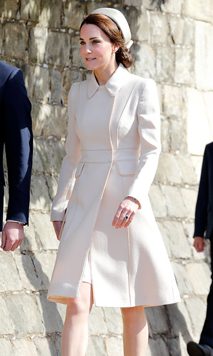 <a href=/tags/0/kate-middleton><strong>Duchess Kate</strong></a> was a vision in head-to-toe cream at Easter Sunday church service at St. George's Chapel in 2017 in Windsor.