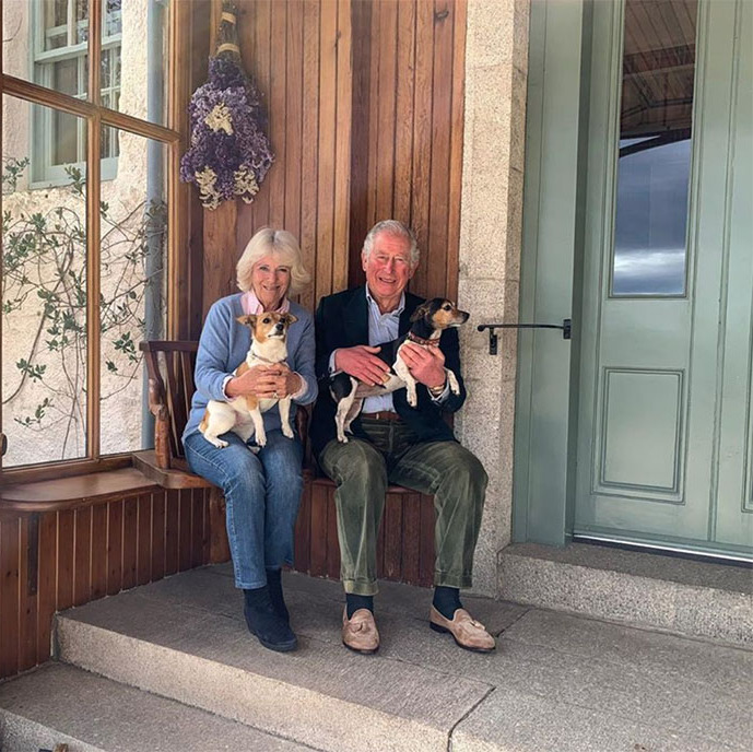 So sweet! <a href=/tags/0/prince-charles><strong>Prince Charles</strong></a>, <a href=/tags/0/camilla-parker-bowles><strong>Duchess Camilla</strong></a>, and their lovable dogs, Bluebell and Beth, were polished-yet-relaxed in tailored layered looks on April 8.