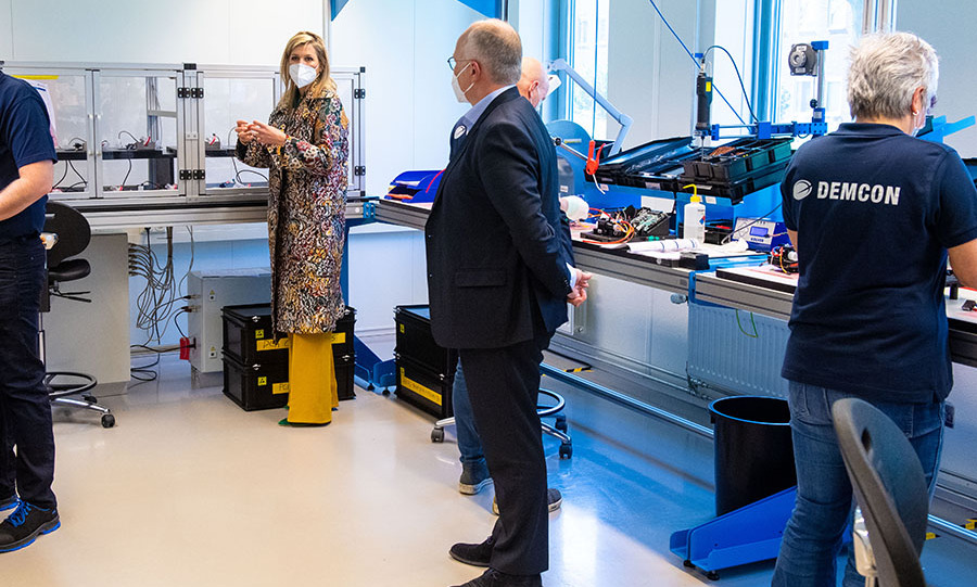 On April 16, <a href=/tags/0/queen-maxima><strong>Queen Máxima</strong></a> of the Netherlands visited Demcon, a technology company producing medical machines, in Enschede.