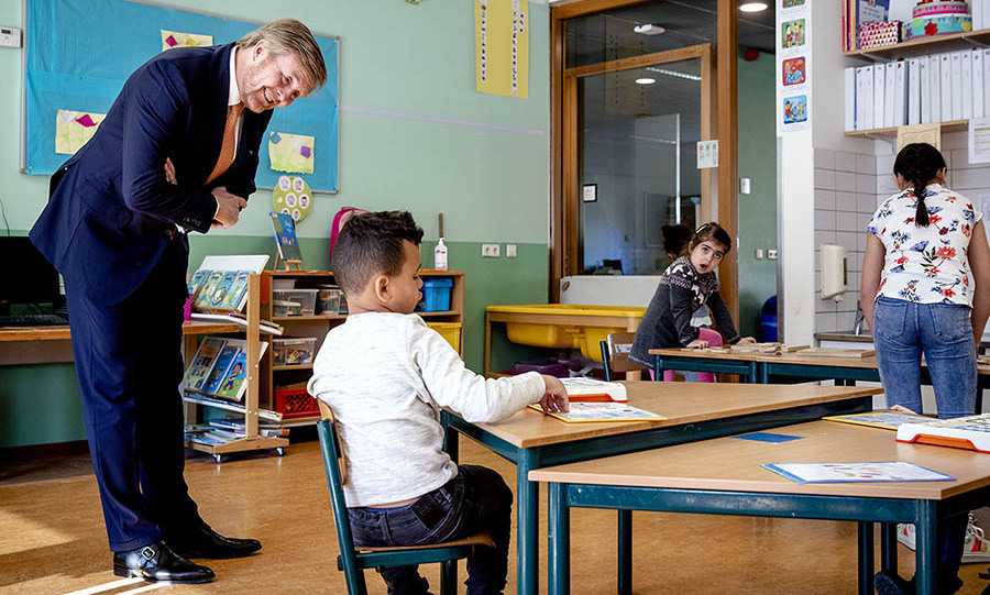 <a href=/tags/0/king-willem-alexander><strong>King Willem-Alexander</strong></a> of the Netherlands interacted with a pupil during a visit to De Fontein primary school in The Hague on April 15.