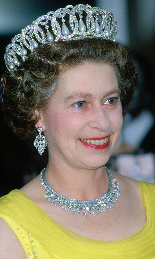 In 1978, the Queen once again dazzled in the Russian Tiara at a banquet during a royal tour of Germany.