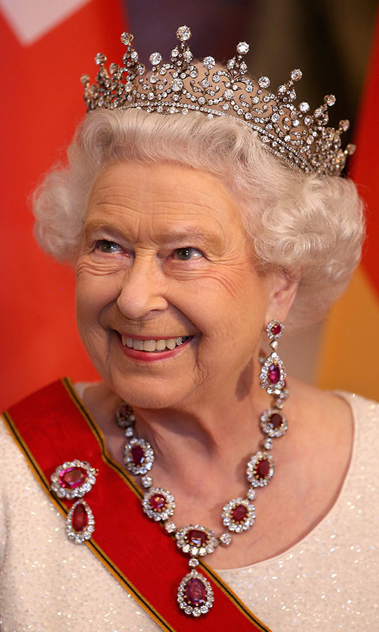 The Queen's smile was as magnetic as her jewellery! In 2015, the beaming royal stepped out to a state banquet at the Schloss Bellevue Palace in Berlin during a four-day state visit to Germany.