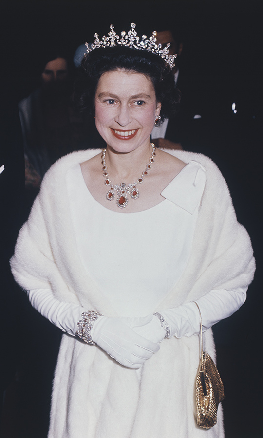 The young monarch arrived in elegant fashion at the Manoel Theatre in Valletta, Malta in 1967. Her dark hair was crowned with the Girls of Great Britain and Ireland Tiara. <p>The diamond piece has long been one of Her Majesty's favourites. The iconic tiara was previously owned by the Queen's grandmother, <a href=/tags/0/queen-mary><strong>Queen Mary</strong></a>, which is why it is affectionately called Granny's tiara!