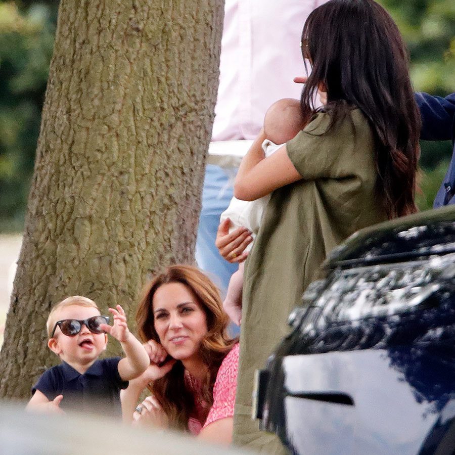 Louis also stole his mom's sunglasses and entertained Kate and aunt <Strong><a href=/tags/0/meghan-markle>Meghan</a></strong> as she held his baby cousin, <strong><a href=/tags/0/archie-harrison>Archie</a></strong>!