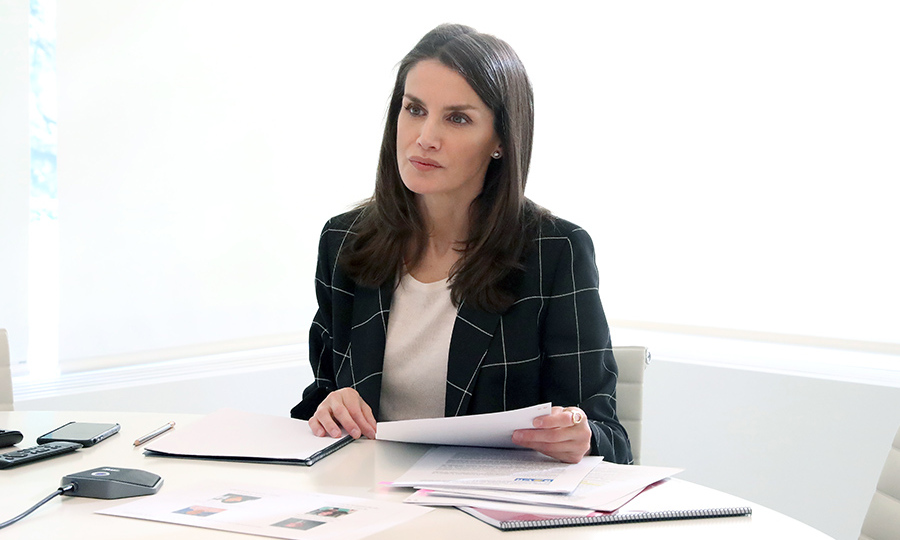 <a href=/tags/0/queen-letizia><strong>Queen Letizia</strong></a> participated in a video conference with the Down Association Spain at Zarzuela Palace in Madrid on April 20. 