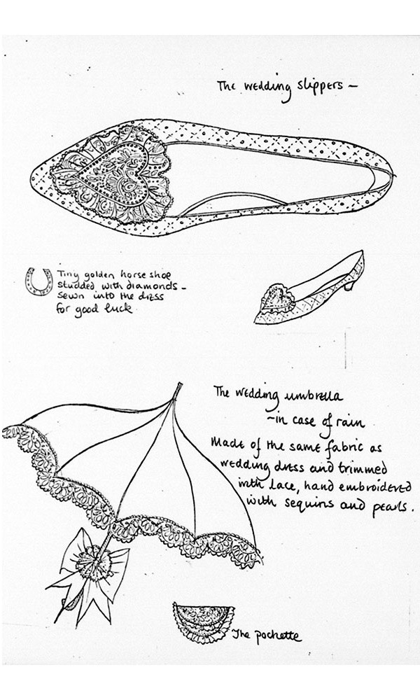 Sketches of Diana's wedding accessories revealed that she also had a matching umbrella made, in case it rained on her wedding day.