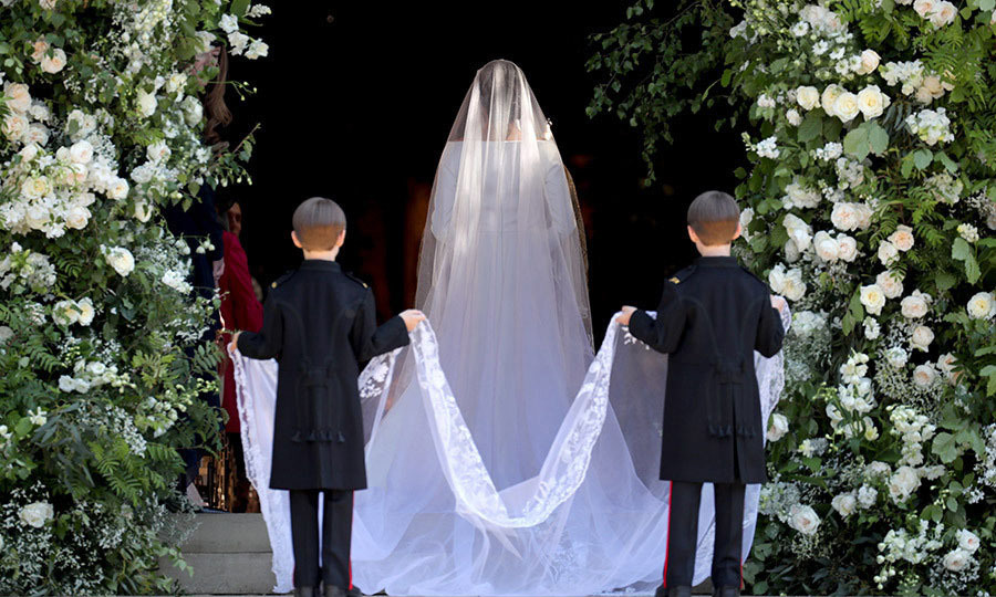 <p>Duchess Meghan's elegant dress was finished with a 16-foot long Givenchy veil, which was crafted by Parisian embroidery house Maison Lesage.