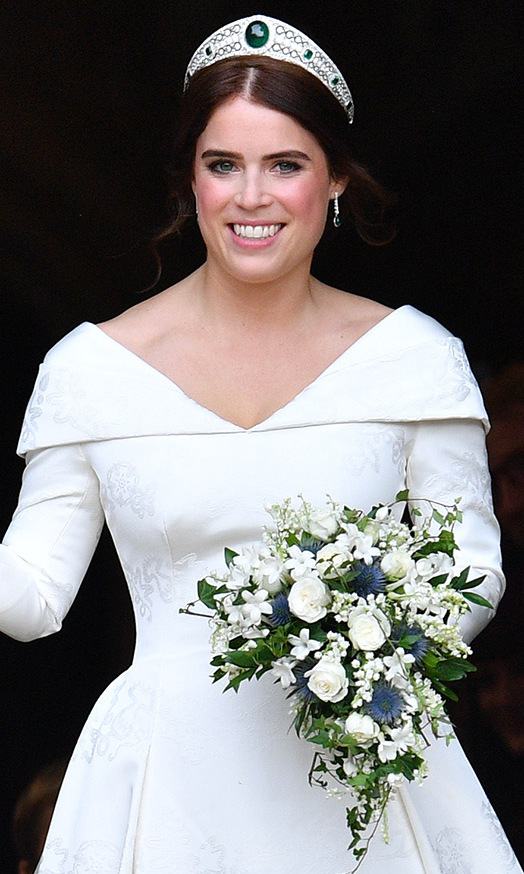 The Duchess of York's youngest daughter sported the Greville Emerald Kokoshnik Tiara, which was lent to her by her grandmother, the Queen. 