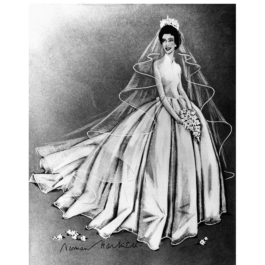 The bride was a vision in a <strong>Norman Hartnell</strong> wedding gown, who also created Her Majesty's wedding dress.