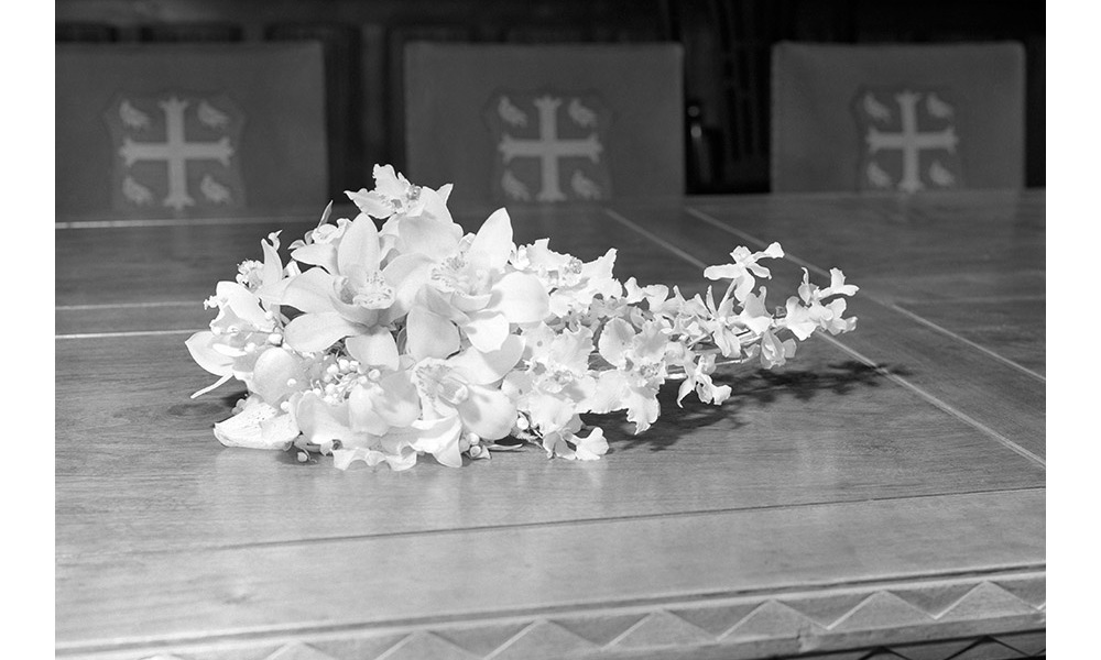 The 29-year-old bride's wedding bouquet was left behind at Westminster Abbey. Her wedding flowers featured orchids and the bouquet was designed by <strong>Constance Spry</strong>.