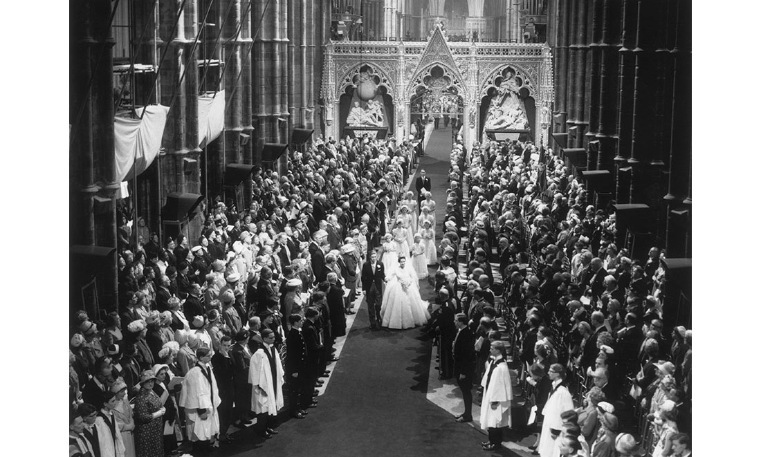 What a picture! Everyone stood as Princess Margaret and Antony walked down the aisle at Westminster Abbey after their marriage ceremony. They were followed by their adorable flower girls.