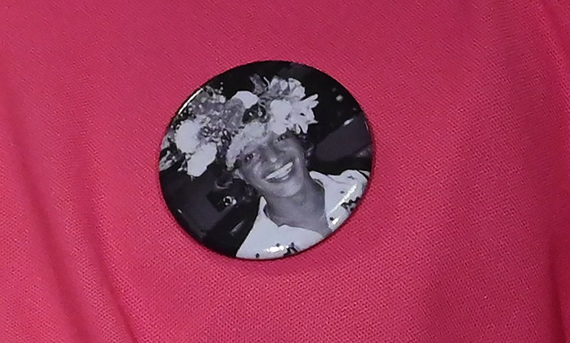 Marsha P. Johnson is seen on a badge worn during an event at the Lesbian, Gay, Bisexual and Transgender Community Center in New York in 2019. Photo: © TIMOTHY A. CLARY/AFP via Getty Images