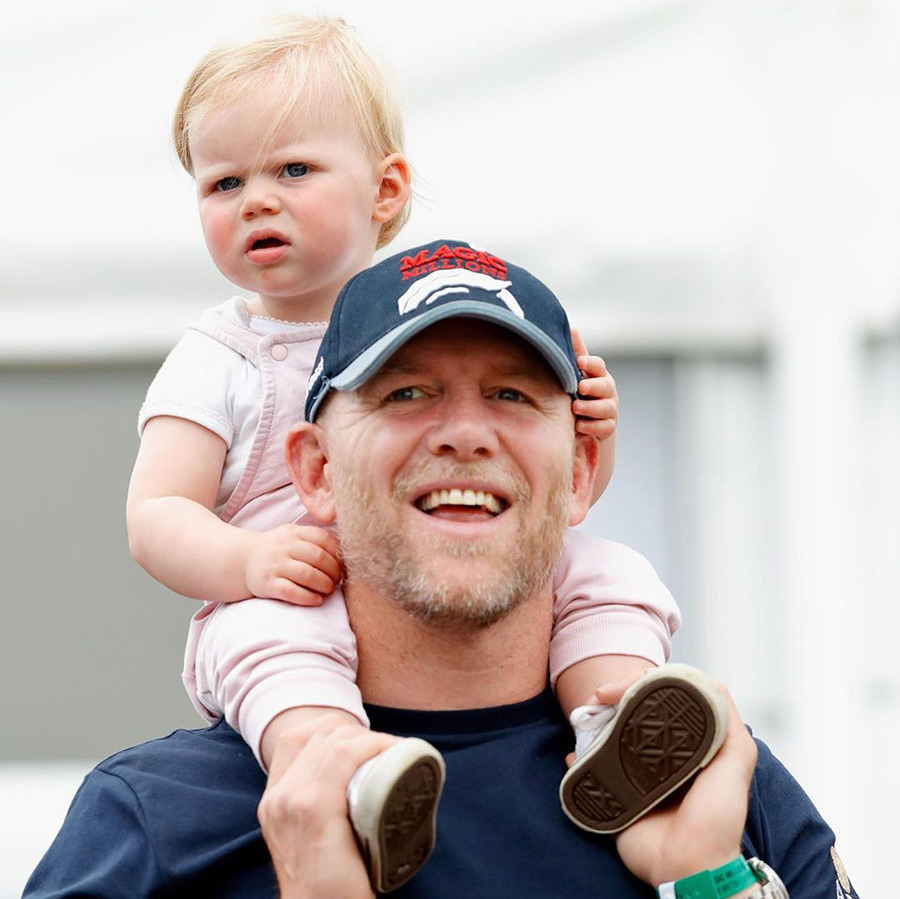 The toddler enjoyed a ride on dad Mike's shoulders during a day out in Stroud.
