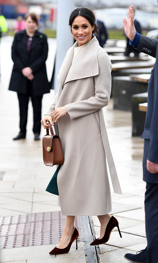 """Seeing Meghan wearing Mackage to her official royal outings [in Northern Ireland in March 2018, pictured here] was an honour,"" elaborated Eran. 