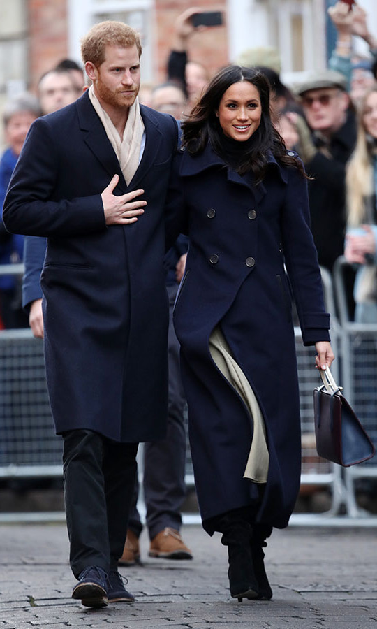"<p>Elisa continued, ""One of our proudest moments occurred when Meghan Markle chose to wear our timeless double-breasted <a href=""https://www.mackage.com/ca/en/elodie-wool-double-breasted-coat/ELODIE-R.html"">ELODIE</a> on the first official joint outing with Harry after their engagement was announced [pictured]."" 