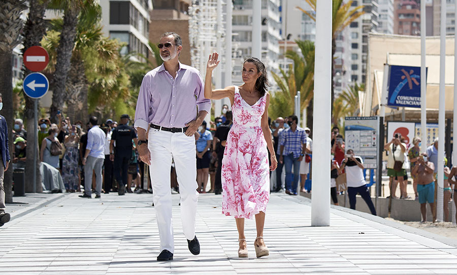 The same day, the <a href=/tags/0/Spanish-royals><strong>Spanish royals</strong></a> headed to Playa de Levante in Benidorm. Letizia was a vision in a white-and-pink patterned dress by <strong>Adolfo Domínguez</strong> and <strong>Macarena</strong> espadrille wedges.