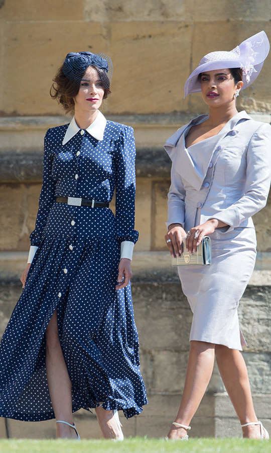 Priyanka, pictured with Abigail Spencer, was one of the guests at Meghan and Prince Harry's wedding in 2018. Photo: © Pool/Samir Hussein/WireImage
