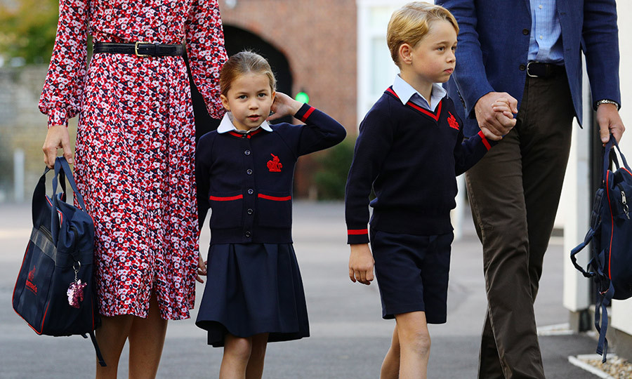 About a month later, George joined his sister for first day of school. The two were pictured arriving at Thomas's Battersea with Kate and William in their uniforms, looking very confident as they started the school year.