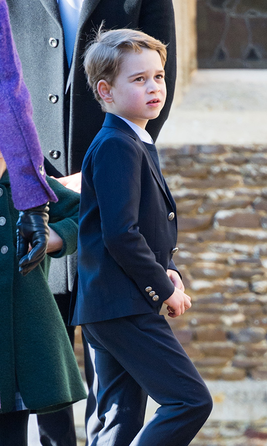 George looked like a little gentleman on Dec. 25, 2019, as he and Charlotte made their debuts at the Royal Family's Christmas Day service at Sandringham. He was wearing a suit and vest and he and Charlotte enjoyed walking around and greeting the well-wishers who had come out to say hello.