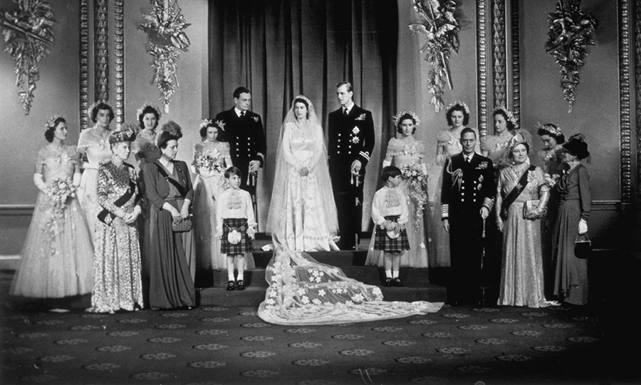 "Elizabeth's bridesmaids, including Princess Margaret, were also outfitted in Norman Hartnell creations. The dresses were described as ""diaphanous gown[s] of ivory silk tulle.""