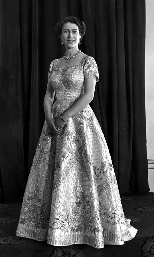 Norman Hartnell designed this exquisite gown for Her Majesty to wear to her coronation ceremony in June 1953.