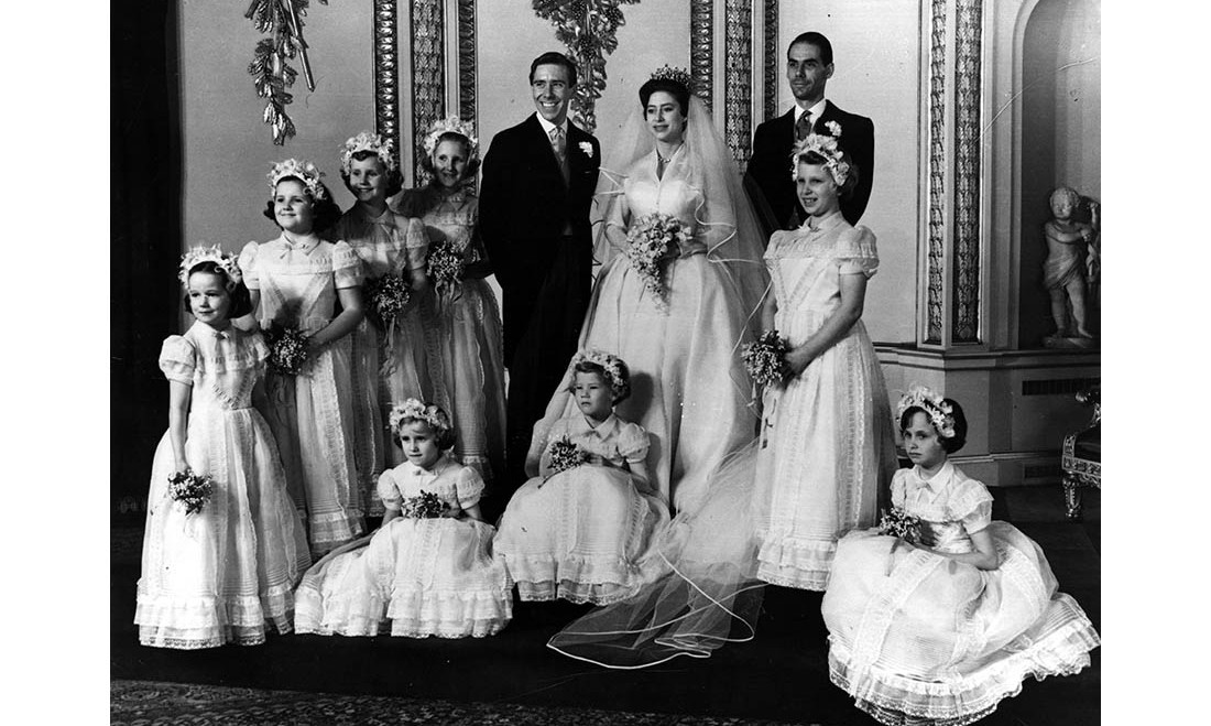 Sir Norman Hartnell was also in charge of the bridal party's looks at Princess Margaret and Lord Snowdon's wedding. The wedding party featured eight young bridesmaids, and they were led by Margaret's niece, a young <a href=/tags/0/princess-anne><strong>Princess Anne</strong></a>!