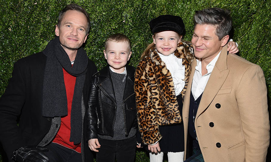 "Neil Patrick Harris and David Burtka with their twins, Gideon and Harper, at the 2017 Saks Fifth Avenue & Disney ""Once Upon a Holiday"" windows unveiling at Saks Fifth Avenue on Nov. 20, 2017 in New York City. Photo: © Gary Gershoff/WireImage"