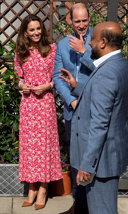 <a href=/tags/0/kate-middleton><strong>Duchess Kate</strong></a> and <a href=/tags/0/prince-william><strong>Prince William</strong></a> had a series of engagements in London on Sept. 15. The mom of three rewore a beautiful red-and-white floral midi dress from <a href=/tags/0/beulah-london><strong>Beulah London</strong></a>, which we last saw during <a href=/tags/0/covid-19><strong>COVID-19</strong></a> lockdown. This time, it was paired with tan pumps and dainty earrings.