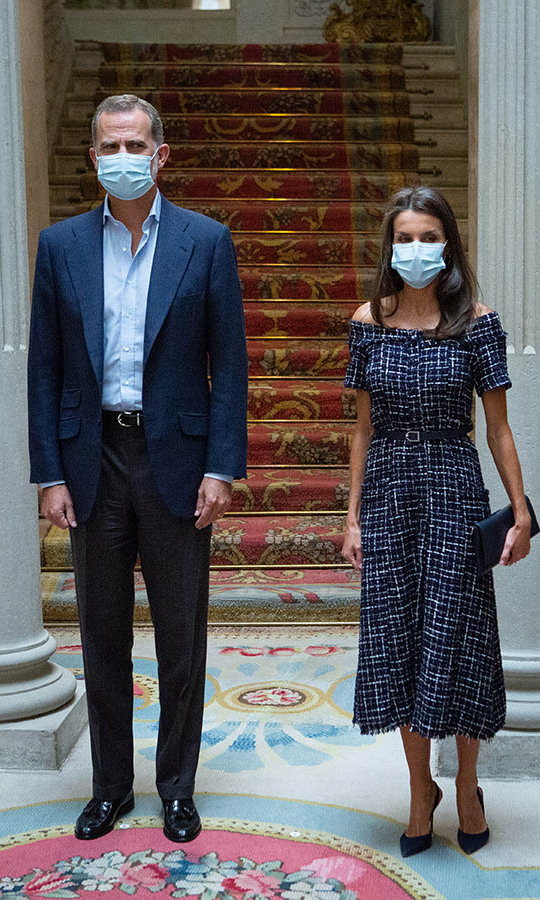 That same day, <a href=/tags/0/king-felipe-vi><strong>King Felipe VI</strong></a> and Queen Letizia turned heads in shades of blue at the Cooperator's Day event at Viana's Palace in Madrid.