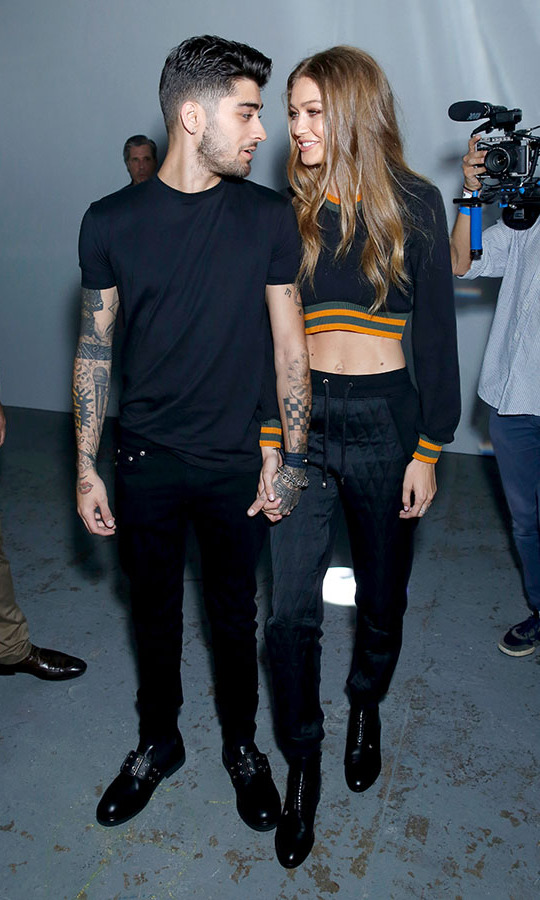 Zayn Malik and Gigi Hadid at the Versus Versace show during London Fashion Week on Sept. 17, 2016. Photo: © Darren Gerrish/WireImage