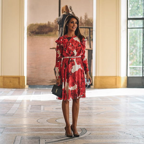 "<a href=/tags/0/princess-marie><strong>Princess Marie</strong></a> of Denmark was beautiful in a red rose print dress at ""The Golden Age of Danish Paintings (1801-1864)"" exhibition at the Petit Palais in Paris on Sept. 18. 