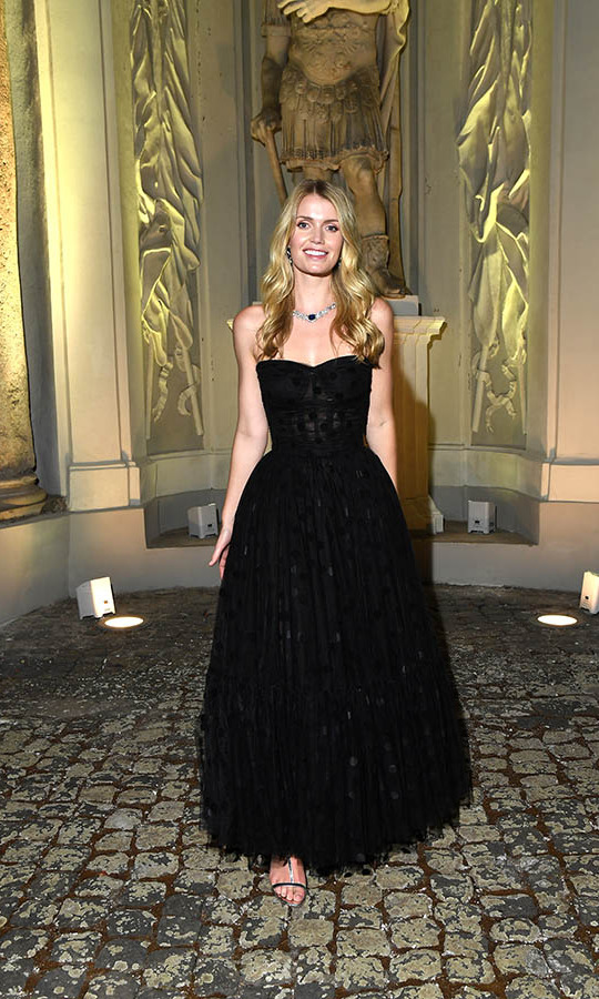 Such glamour! <a href=/tags/0/lady-kitty-spencer><strong>Lady Kitty Spencer</strong></a> stunned at the <a href=/tags/0/bulgari><strong>Bulgari</strong></a> Barocko event in Rome on Sept. 14, in sparkling jewels from the brand and a semi-sheer black polka dot gown from <a href=/tags/0/dolce-gabbana><strong>Dolce & Gabbana</strong></a>.