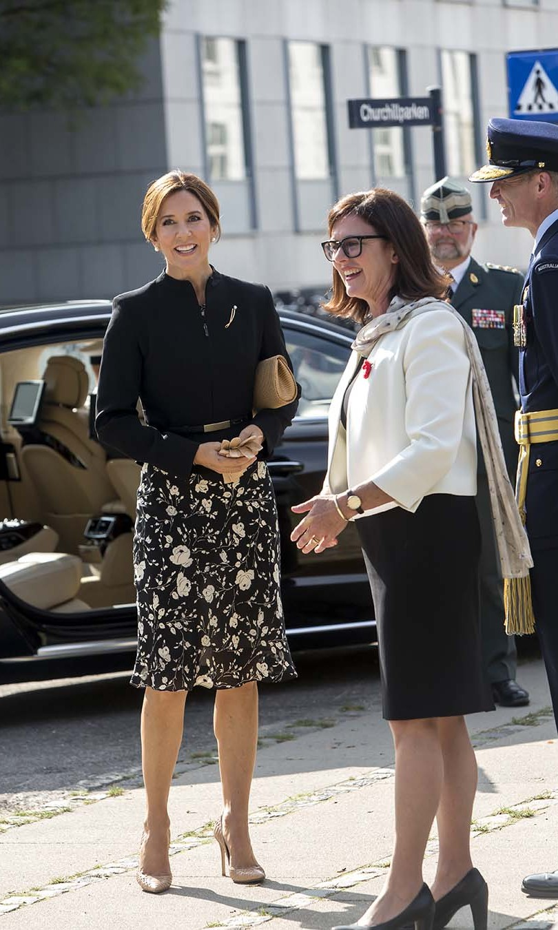 On Sept. 17, <a href=/tags/0/crown-princess-mary><strong>Crown Princess Mary</strong></a> stepped out in a monochromatic ensemble to take in the Australian War Monument at Churchill Memorial Park in Copenhagen.