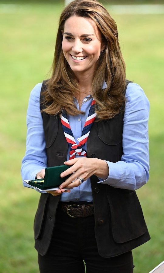 "Kate also received the Silver Wolf Award, the Scouts' highest honour. The Duke of Kent will also be presented with the prize. Kate said she would wear it ""with pride.""