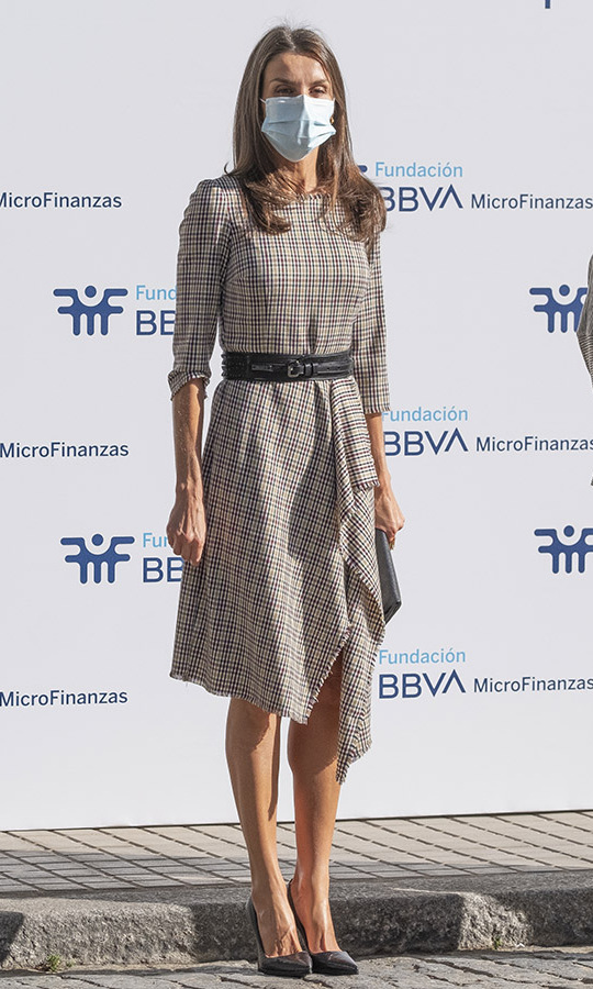 <a href=/tags/0/queen-letizia><strong>Queen Letizia</strong></a> stepped out to the BBVA Foundation on Sept. 28 in Madrid wearing a plaid dress from Spanish brand <strong>Pedro del Hierro</strong> paired with a black belt, clutch and pumps.