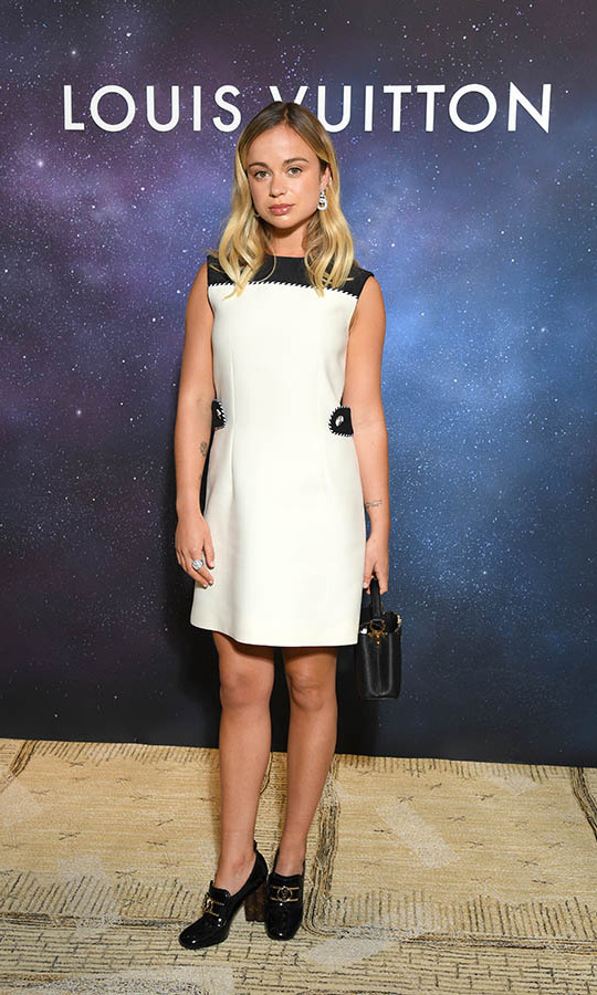 <a href=/tags/0/lady-amelia-windsor><strong>Lady Amelia Windsor</strong></a> wowed in a monochromatic ensemble and sparkling jewels at the <a href=/tags/0/louis-vuitton><strong>Louis Vuitton</strong></a> Stellar Jewelry cocktail event on Sept. 28 during Paris Fashion Week.