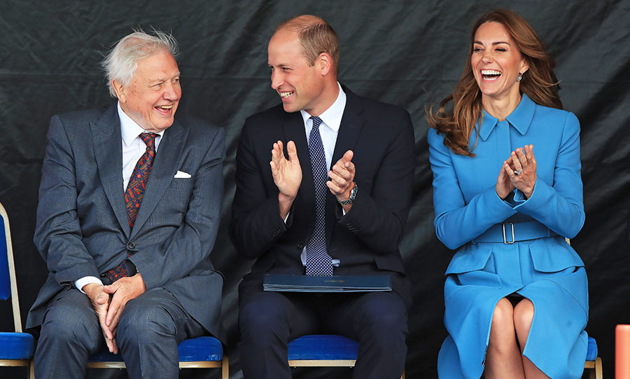 Sir David Attenborough, Prince William and Duchess Kate at the naming ceremony for The RSS Sir David Attenborough on Sept. 26, 2019 in Birkenhead; Photo: © Peter Byrne-WPA Pool/Getty Images
