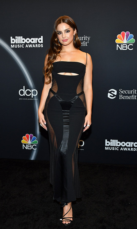 TikTok star <strong>Addison Rae</strong> wowed in a slinky black <a href=/tags/0/Mugler><strong>Mugler</strong></a> dress.