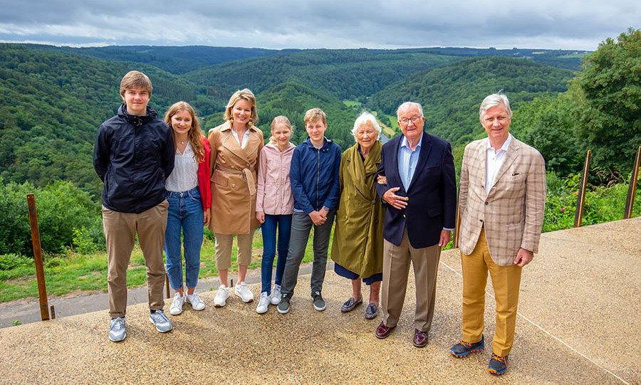 Members of the Belgian royal family, including (L-R) Prince Gabriel, Princess Elisabeth, Queen Mathilde, Princess Eleonore, Prince Emmanuel, Queen Paola, King Albert II and King Philippe during a visit to the Giant's Tomb on June 28, 2020 in Bouillon. Photo: © Julien Warnand /Royal Belgium/Pool/Getty Images