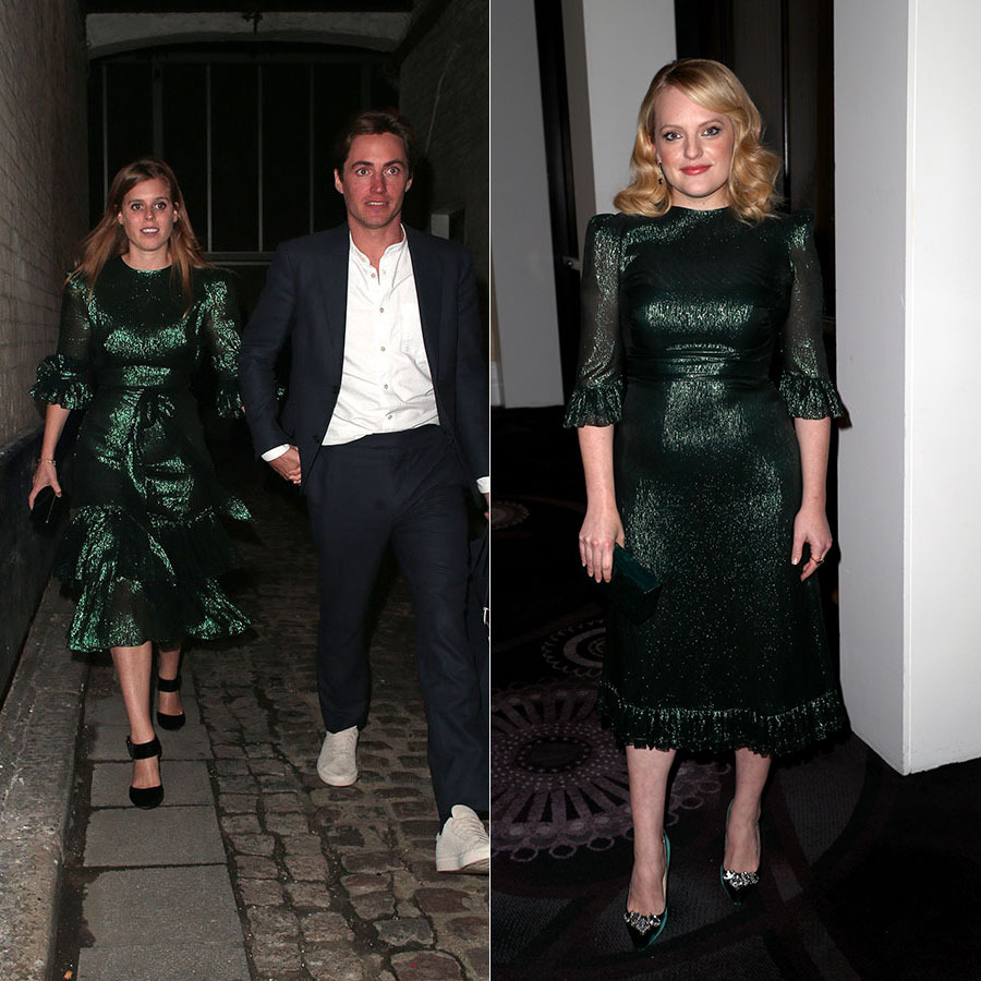 Ladies in green! <a href=/tags/0/princess-beatrice><strong>Princess Beatrice</strong></a> wowed in <a href=/tags/0/the-vampires-wife><strong>The Vampire's Wife</strong></a> Veneration Tiered Dress during a night out with <a href=/tags/0/edoardo-mapelli-mozzi><strong>Edoardo Mapelli Mozzi</strong></a> in London in October 2019.