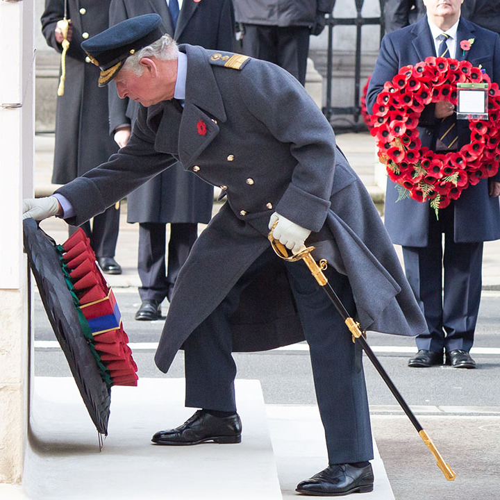 Prince Charles lays a wreath at the Cenotaph during a National Service of Remembrance. 