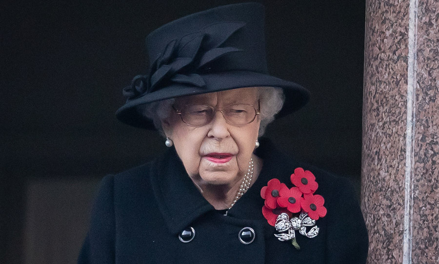 The Queen takes in the National Service of Remembrance at the Cenotaph in London amid the coronavirus pandemic on Nov. 8, 2020.